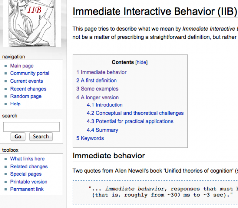 Neth et al. (2007). Immediate interactive behavior (IIB). Wiki on Symposium at CogSci 2007.