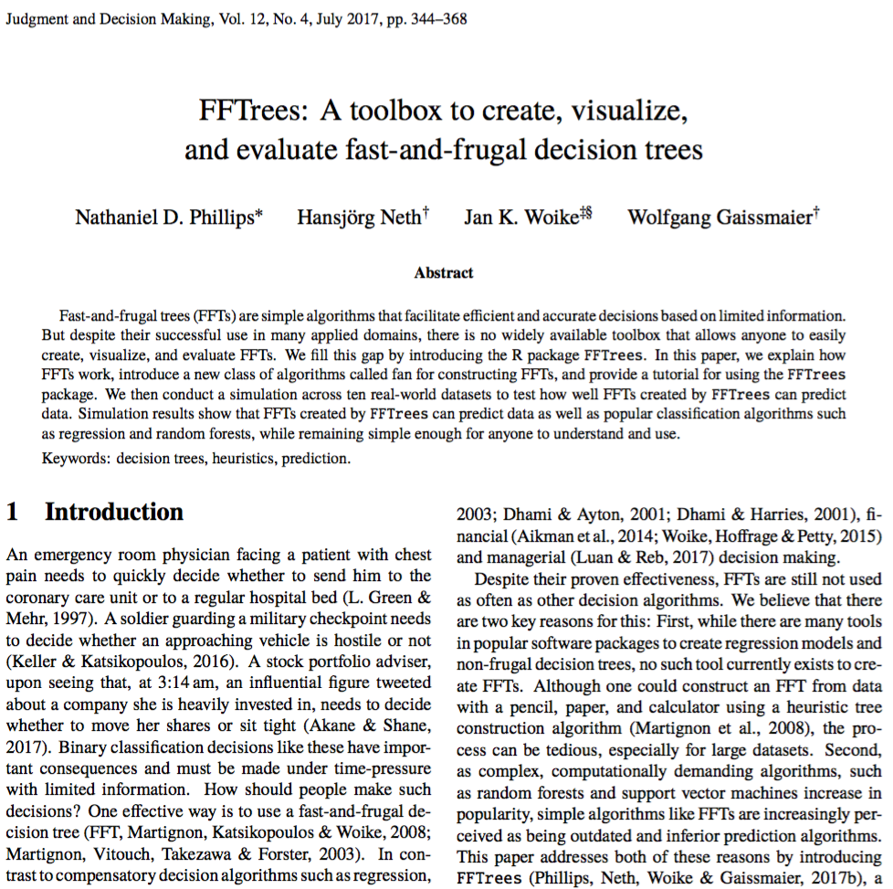 FFTrees, Phillips et al. (2017), JDM